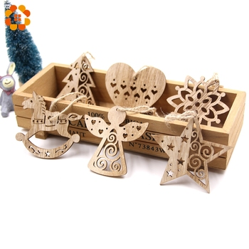 6PCS European Hollow Christmas Snowflakes Wooden Pendants Ornaments for Xmas Tree Ornament Christmas Party Decorations Kids Gift led light christmas tree star car wooden pendants ornaments xmas diy wood crafts kids gift for home christmas party decorations
