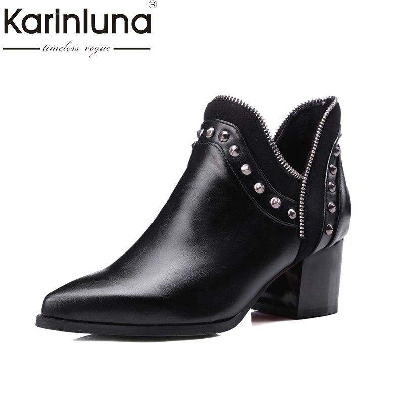 где купить KARINLUNA  2017 large size 32-43 slip on chelsea boots casual square heels add fur ankle boots rivets women shoes woman winter по лучшей цене
