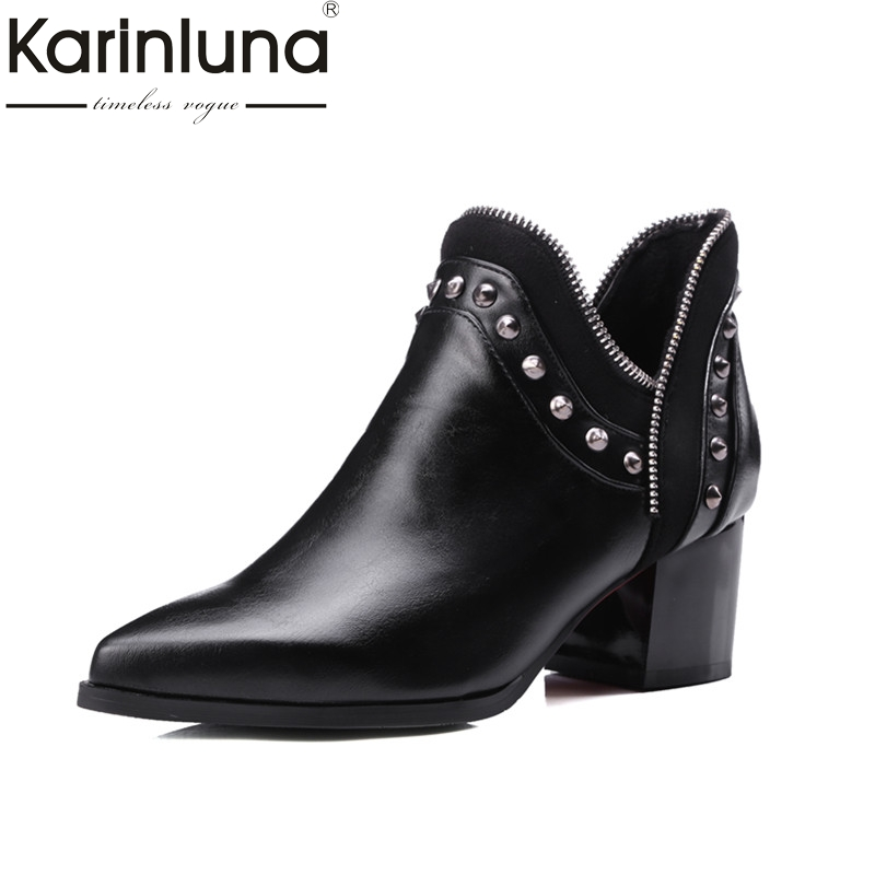 KARINLUNA 2018 large size 32-43 slip on chelsea boots casual square heels add fur ankle boots rivets women shoes woman winter karinluna 2018 plus size 30 50 pointed toe square heels add fur warm winter boots woman shoes woman ankle boots female