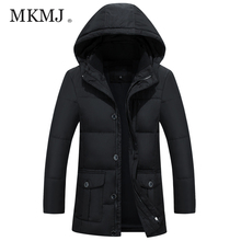MKMJ Твердые Куртка 4XL 5XL зимние куртки для мужчин hat съемная мужская Белая Утка Пуховик Пальто Верхняя Одежда Больших размеров AMY395