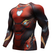 Raglan sleeves Avengers 3 Iron Man 3D printing T-shirt mens compression jacket 2018 Cosplay fitness speed pole clothes spot