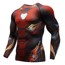 Raglan sleeves Avengers 3 Iron Man 3D printing T-shirt mens compression jacket 2018 Cosplay mens fitness speed pole clothes spot(China)