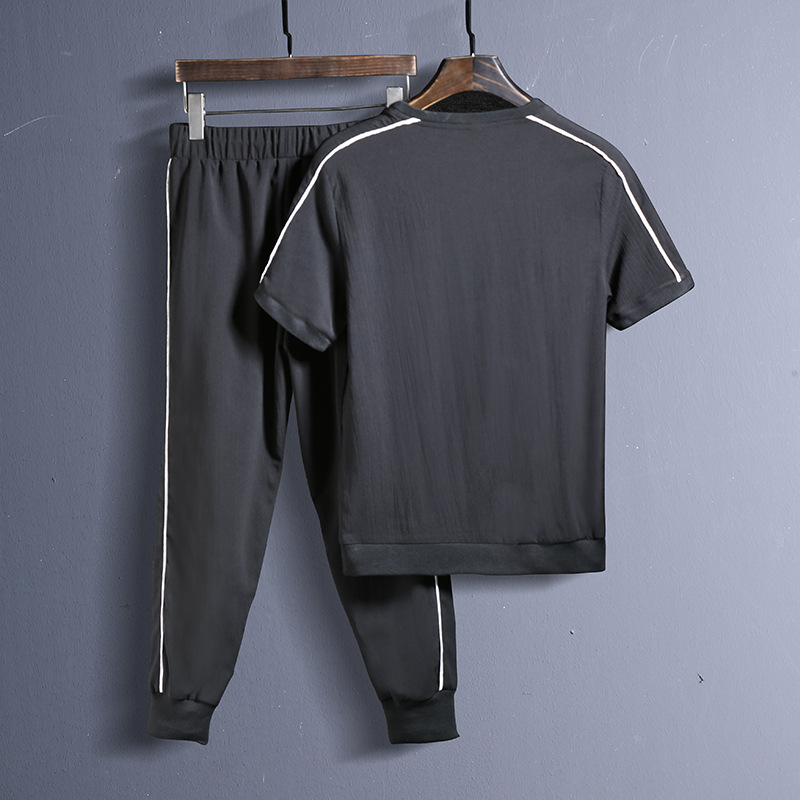 AmberHeard 2018 Summer Fashion Men Sporting Suit Set Short Sleeve T-shirt+Pant Sweat Suit 2 Piece Set For Men Tracksuit Clothes