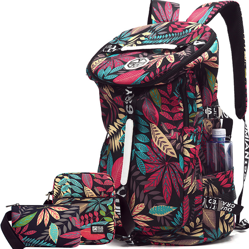 Floral Travel Backpack Women 40L Weekend Bag Set Women Travel Bag Canvas Backpack Large Laptop Back Pack Bags Weekender