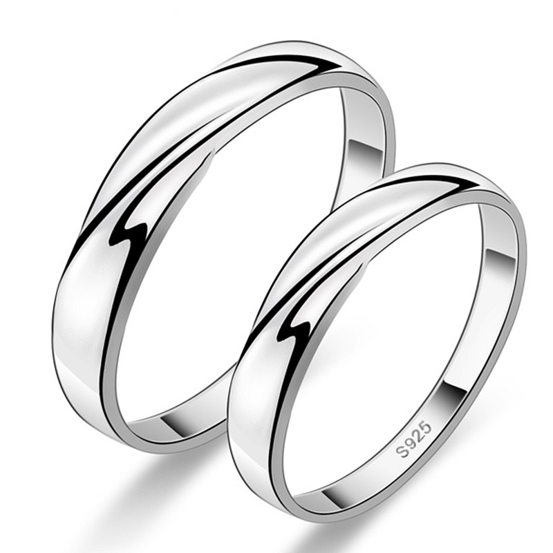 925 sterling silver engagement wedding rings pair women and men band set his and her promise ring for couples love gift cheap in rings from jewelry - Matching Wedding Rings For Him And Her