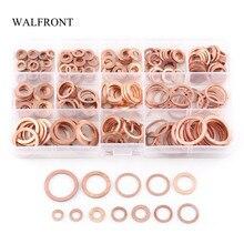 280 Stks/doos Koperen Platte Ring M5 M20 Effen Ring Carterplug Olie Seal Metalen Wasmachine Vlakte Pakking Schroeven Fastener Assortiment