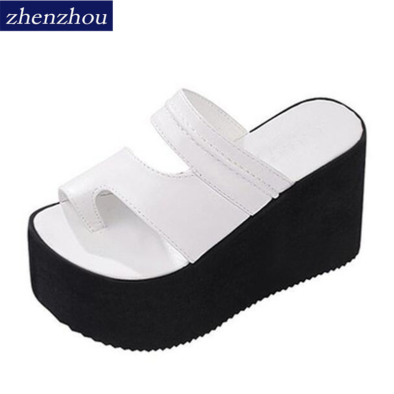 New 2018 Summer beach sandals female slope with high-heeled sandals fashion thick crust muffin slipper flip sandals and slippers slope with super high heels 14cm platform shoes sandals and slippers spring and summer fish head thick crust waterproof shoes