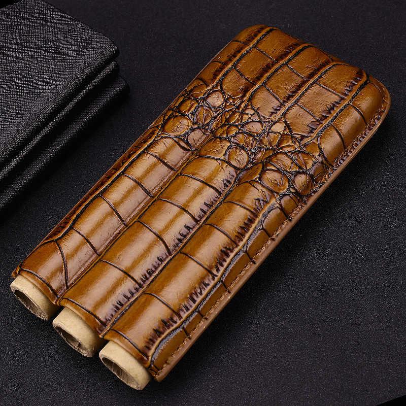 Cohiba роскошный гаджет Convenitent размер кожа Крокодил зерна 3 чехол для сигар чехол с резак держатель дорожный увлажнитель для сигар подарочная коробка