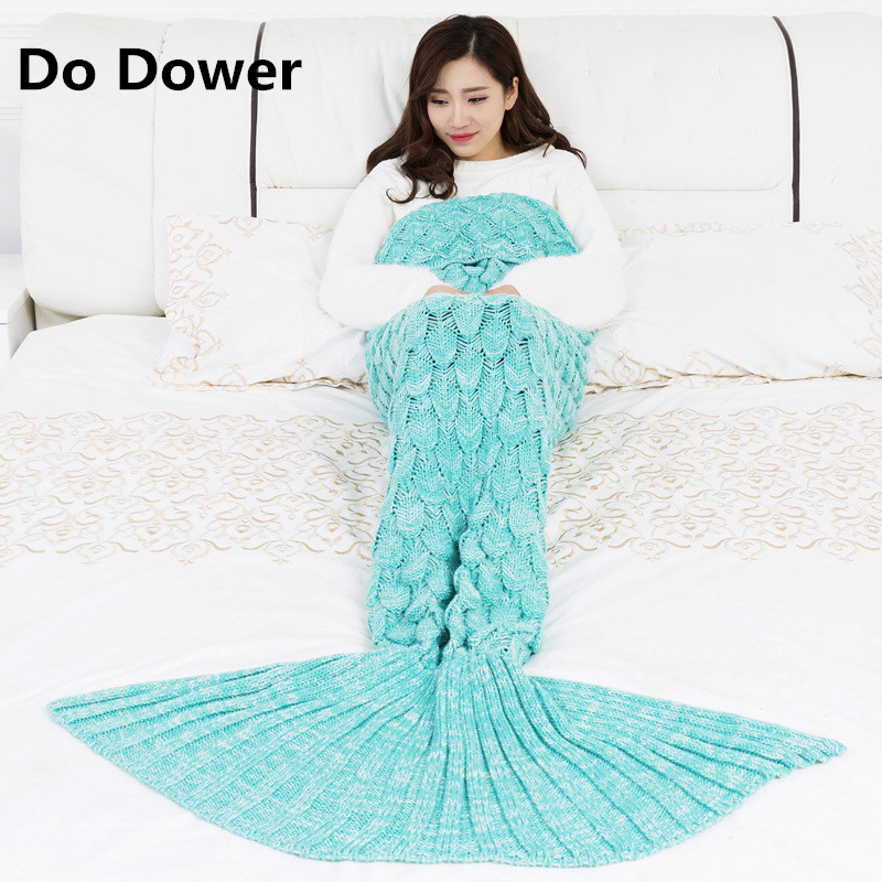 NEW Mermaid tail blanket yarn knitting hand crochet scale weave mermaid blanket child throwing bed wrapped blanket