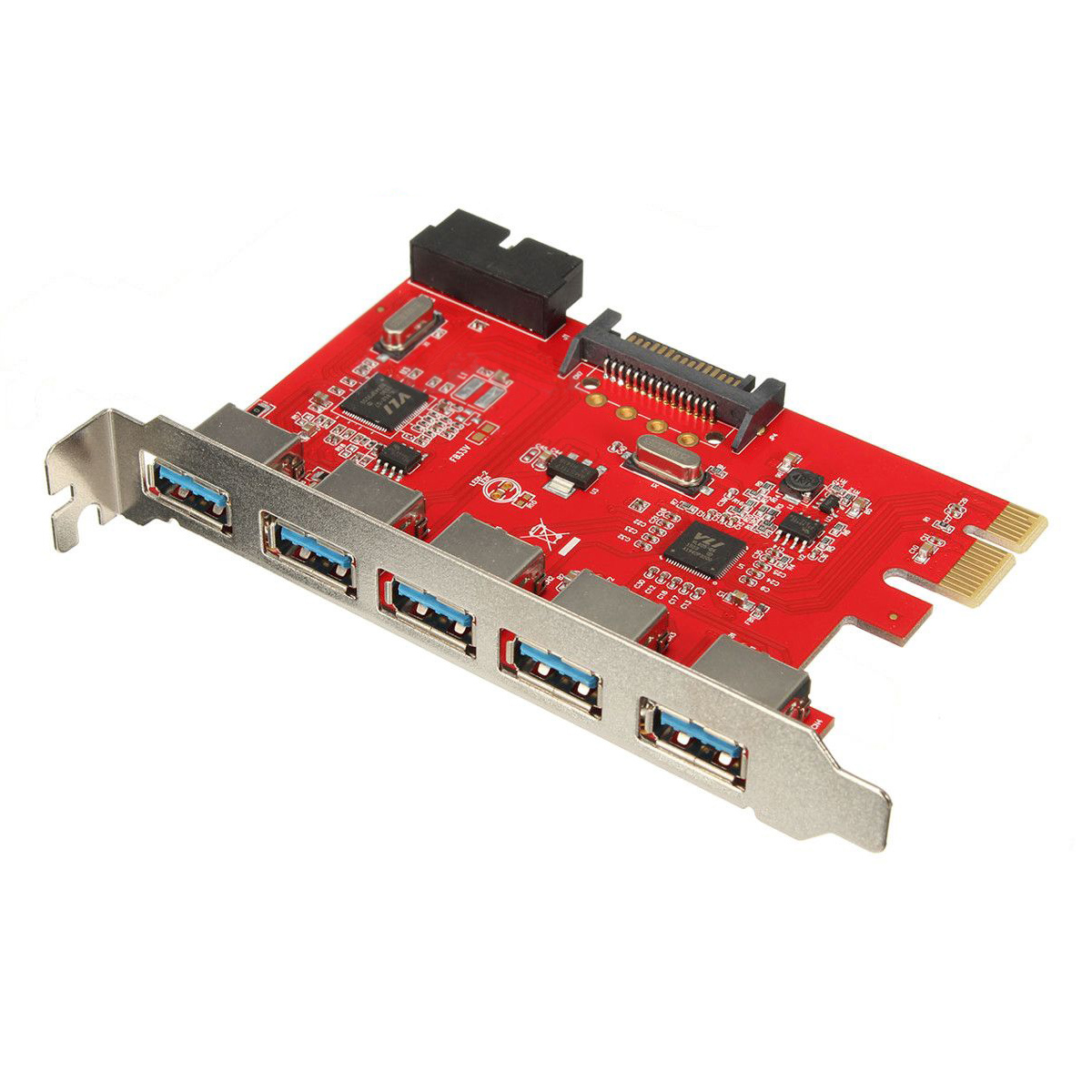 Card 5 Ports PCI-E USB 3.0 HUB 20 Pin 15Pin SATA Adapter Red 2 ports rs485 422 pci card optical isolation surge protection 1053 chip