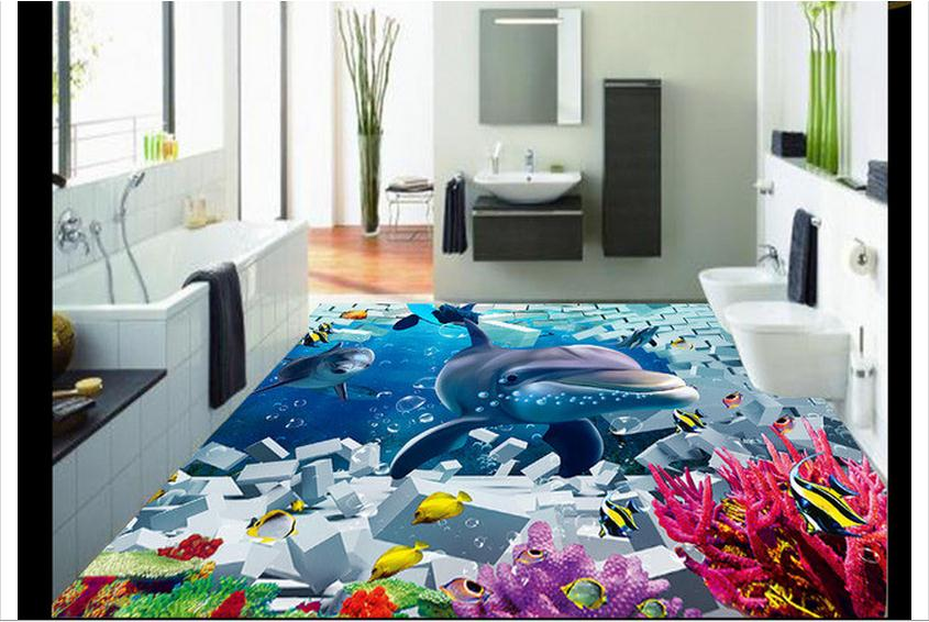 ФОТО 3d wallpaper custom murals 3d PVC Floor painting wallpaper 3D three-dimensional ocean floor beauty wall living room decoration