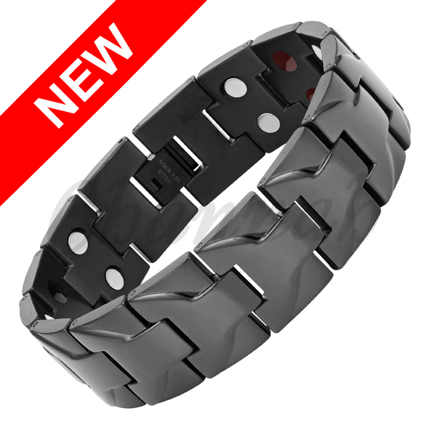 Channah 2017 Bracelet For Men 4in1 Black Large Heavy Big Size Stainless Steel Wide Magnetic Magnet Bangle Free Shipping Charm