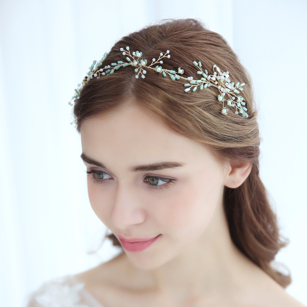 Baby Blue Hair Vine Bridal Headpiece Ethereal Crystal Flower Headband Tiara New Wedding Hair Accessories 2018