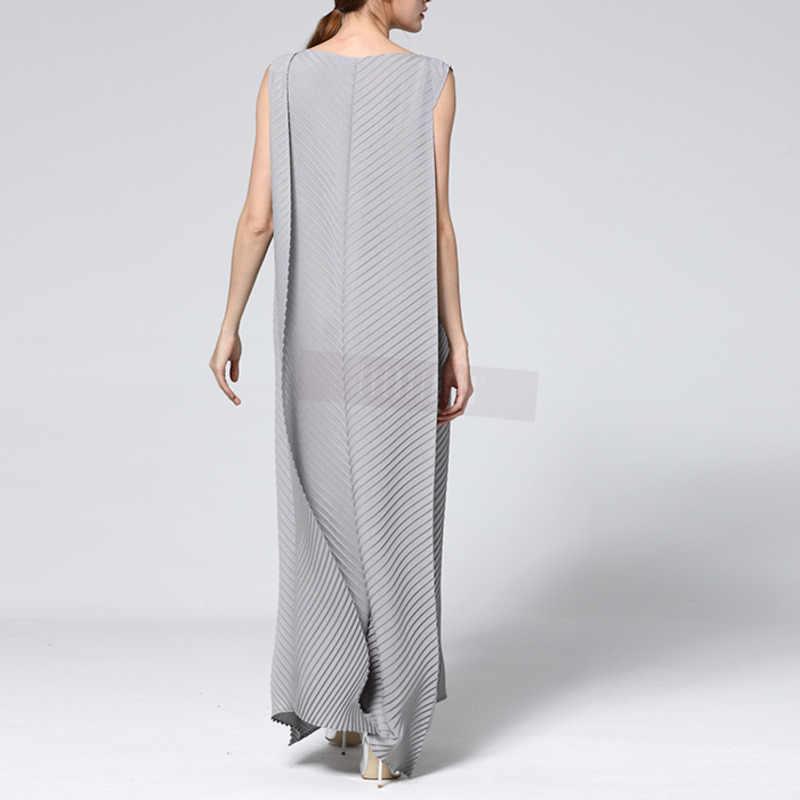 LANMREM 2019 Новая летняя модная женская одежда с v-образным вырезом без рукавов плиссированный винтажный пуловер длинные платья женские vestido WG79402