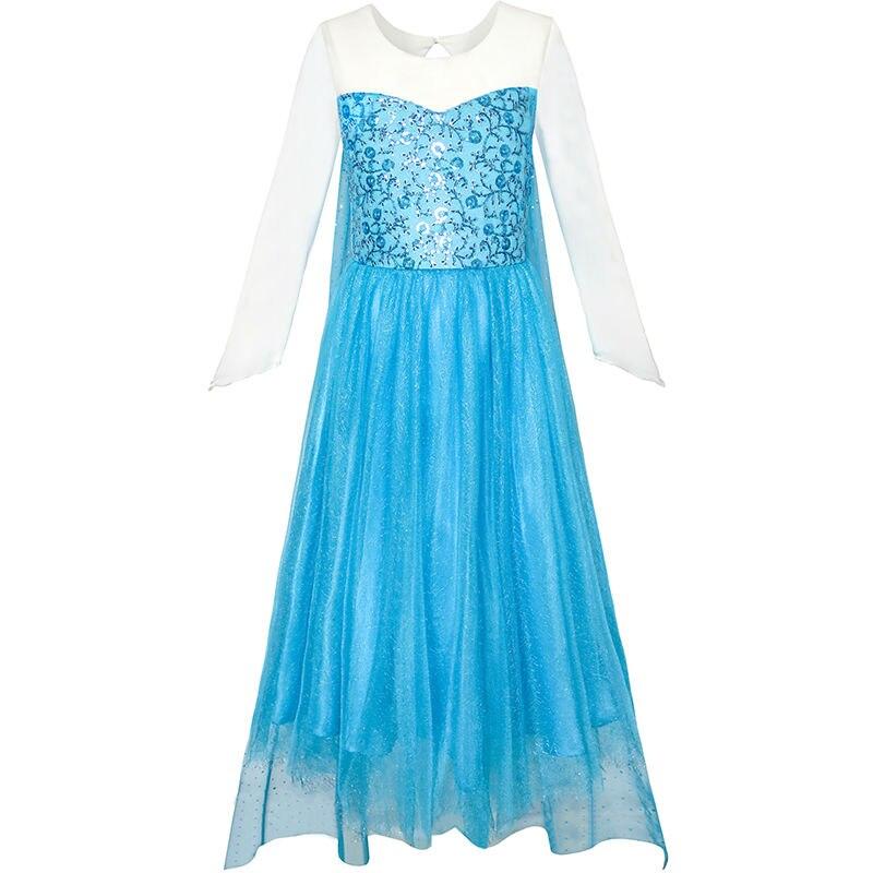 Cartoon Dressing Gown: Flower Girl Dress Cartoon Costume Princess Elsa Sparkling