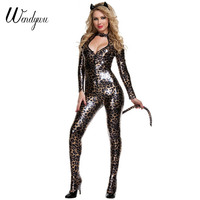 Wendywu Hot Long Sleeve Sexy Cleavage Rompers Wildcat Cosplay Women Bodycon Jumpsuit Costumes