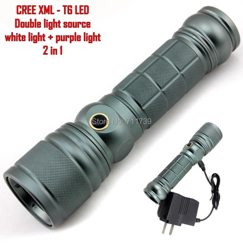 Alonefire Cree Xml T6 Led Adjustable Flashlight Lamp Orch Purple