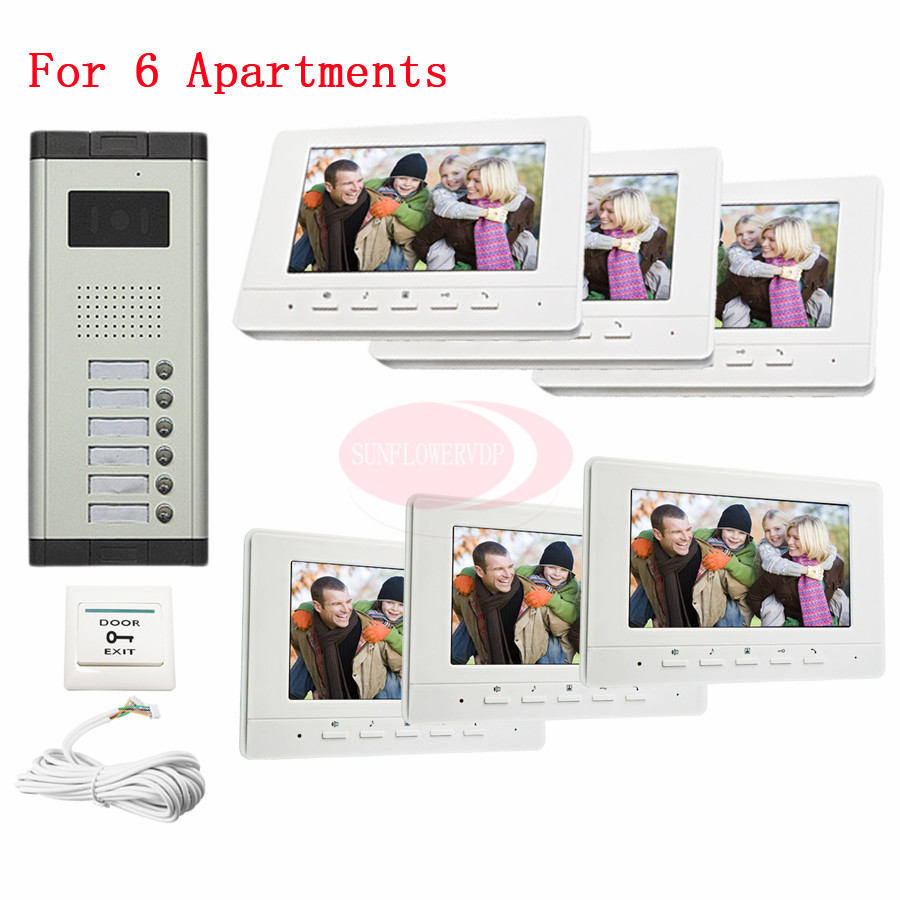 For 6 Apartments Home Surveillance Video Intercom Door Phone 7 LCD Monitor DoorPhone IR Camera In Stock! rfid keyboard ip65 waterproof video doorphone intercom system for 3 apartments with 7 color lcd video intercom system in stock
