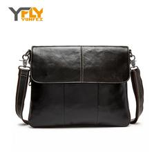 Y-FLY Brand Genuine Leather Fashion Men Bags Vitage Men Messenger Bags Business Travel Bag Leather Crossbody Shoulder Bag HC290