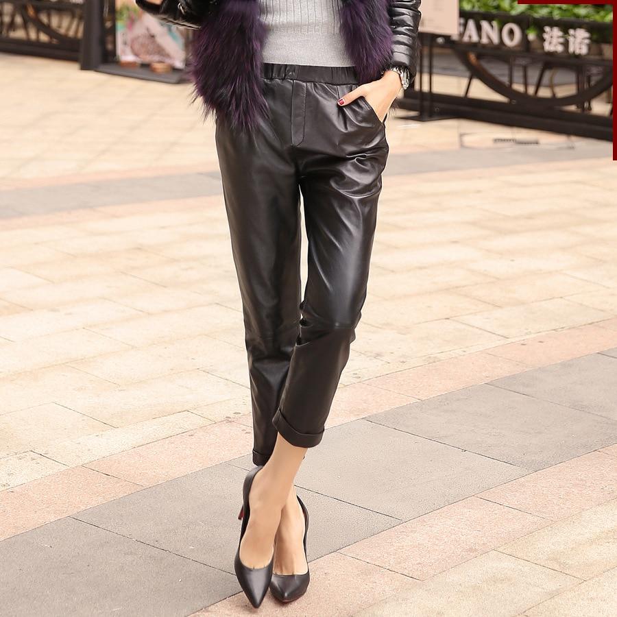 Autumn Genuine Leather Pants Women Loose High Waist Pants Office Lady Sexy Pencil Pants Female Black Sheepskin Trousers Womens