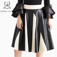 2017 Autumn women genuine sheepskin leather skirt black sexy slim High waisted Ruffles split joint OL real leather A line skirts