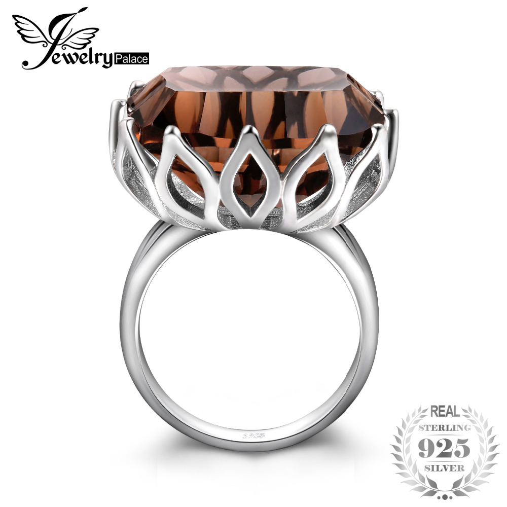 JewelryPalace Huge Unique Concave 20ct Genuine Natural Smoky Quartz Ring Solid 925 Sterling Silver Rings for Women Fine Jewelry solid 925 sterling silver huge