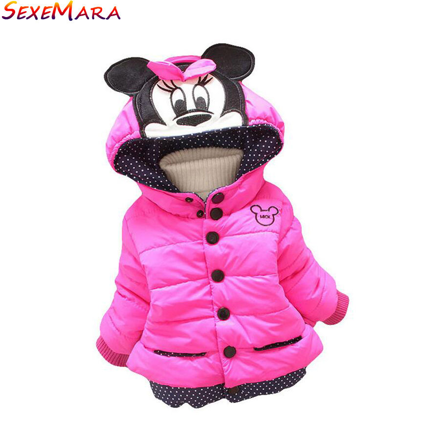 1-4 year old Girl Outwear Coat Cotton padded Winter Hooded Cotton variety Minnie Baby Girls winter Children Cartoon dot Jacket