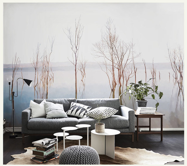 Hand Painting Branches River Reflection Custom Mural 3d Wall Photo