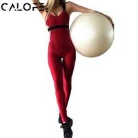 CALOFE Tek parça Spor Takım Elbise Kadın Yoga Setleri Tek Parça Koşu Tulumlar Hollow Out Back Spor Dans Kırpılmış Eğitim pantolon