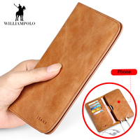 2018 NEW Hot Sale Vintage Wallet Brand Men Purse Genuine Leather Wallet Men Male Wallet Fashion Purse Coin Purse For iPhone 7S