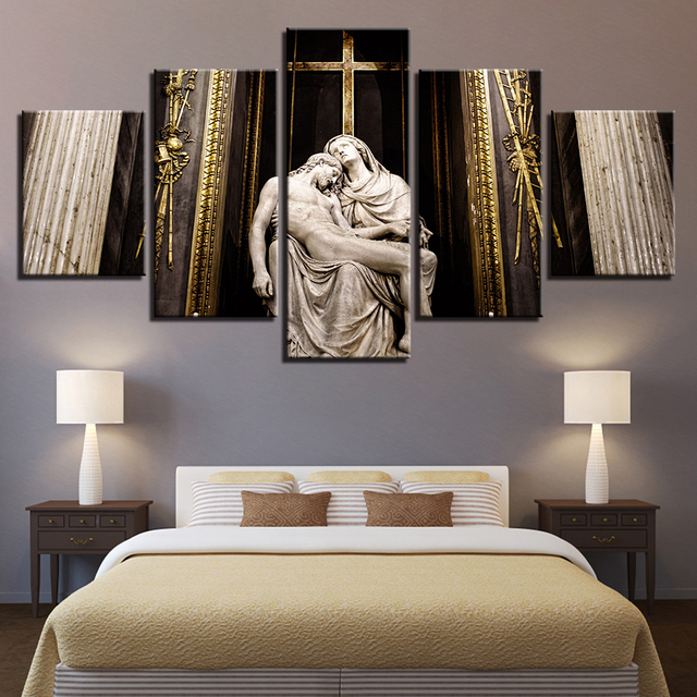 US $5 73 41% OFF|Canvas Prints Modern Frames For Painting Modular Cheap 5  Panel Jesus Pictures Wall Art For Living Room Home Decor Artwork -in