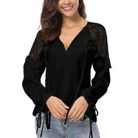 Womens V-Neck Slim Blouses Tops Long Sleeve Ruffle Shoulder Chiffon Lace Blouse Femme Blusas Blouses