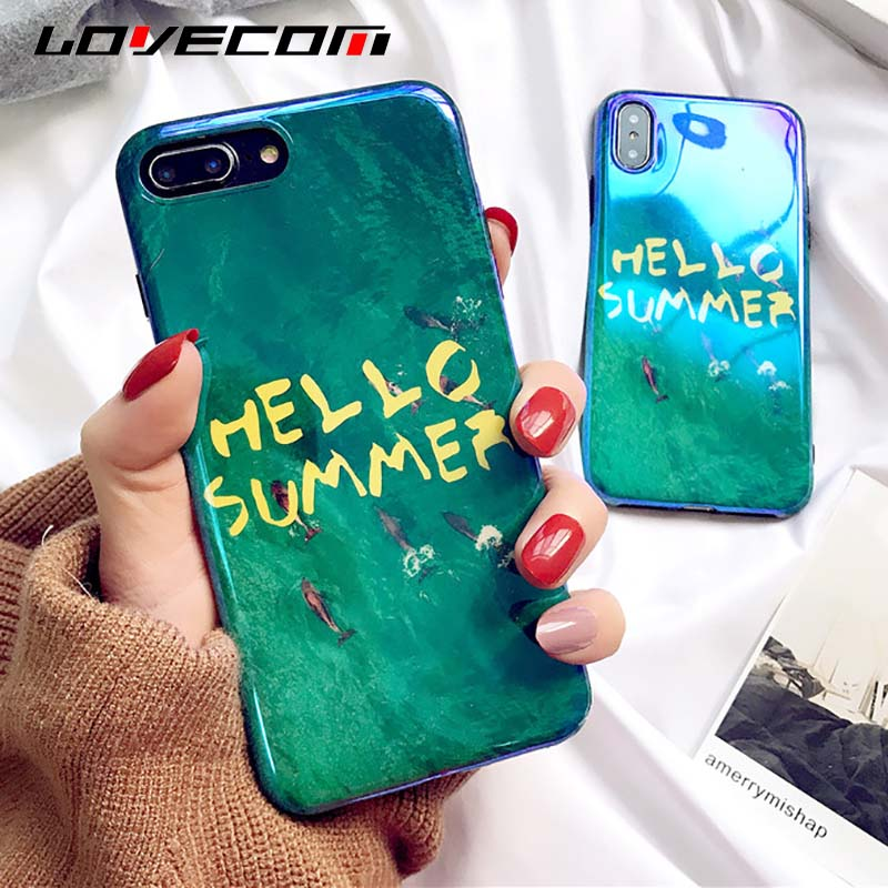LOVECOM Glossy Blue Ray Green Summer Sea Phone Case For iphone X 8 7 6 6s Plus Soft IMD Silicone Protective Cover Cases Fundas