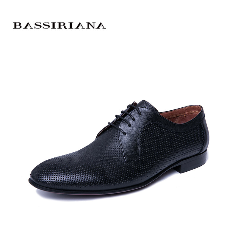 efac35a67a BASSIRIANA Business Genuine leather Shoes men formal Lace-up Spring Autumn  Black Brown 39-45 Russian size handmade