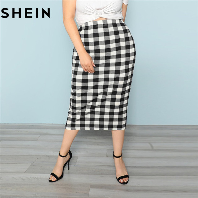 dec4159f50 SHEIN Black And White Plaid Women Plus Size Elegant Pencil Skirt Spring  Autumn Office Lady Workwear Stretchy Bodycon Skirts