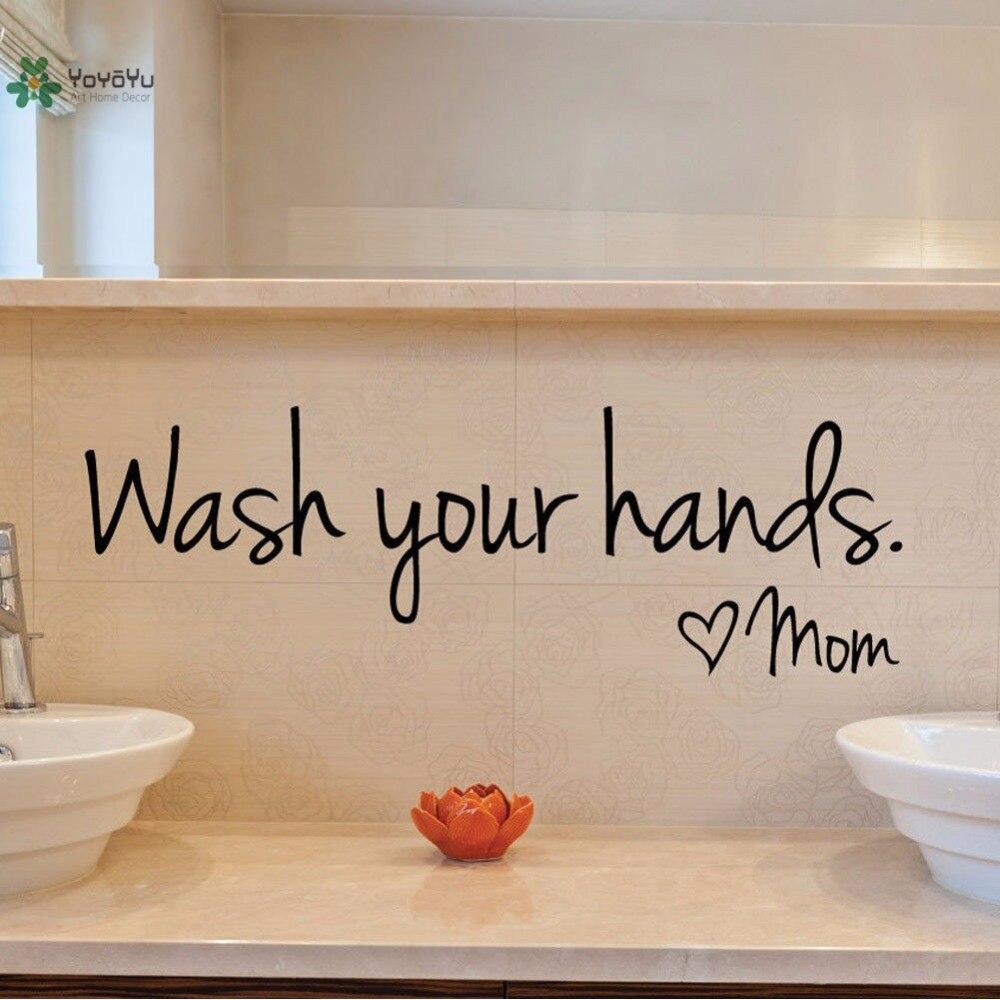 "YOYOYU Vinyl Wall Decal ""Wash Your Hands"" Love Mom"
