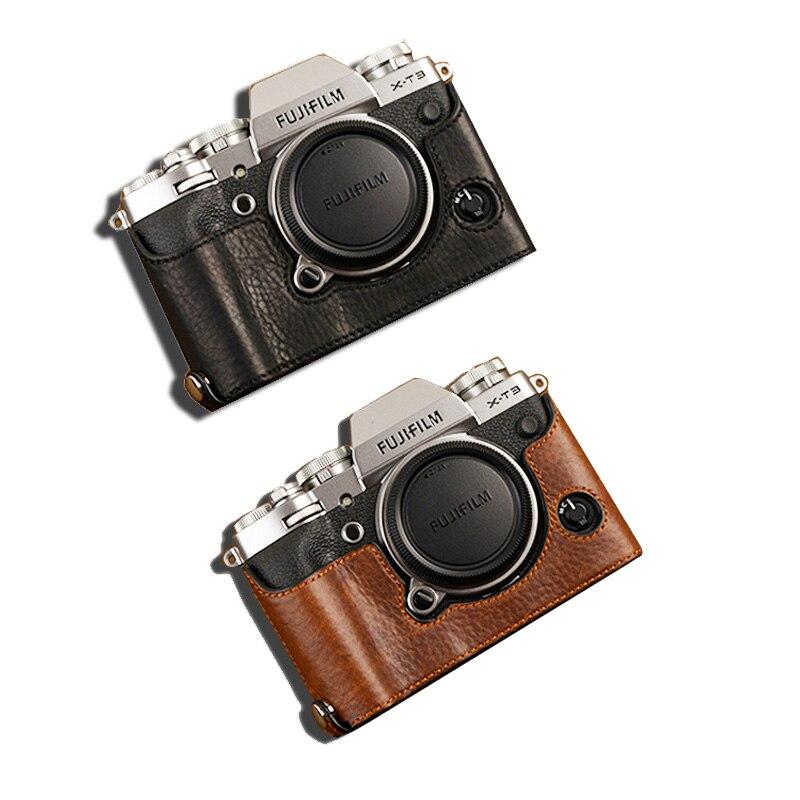 AYdgcam marque étui pour appareil photo en cuir véritable demi-body pour Fujifilm XT3 XT3 sac pour appareil photo Fuji X-T3 sac de fond fait main