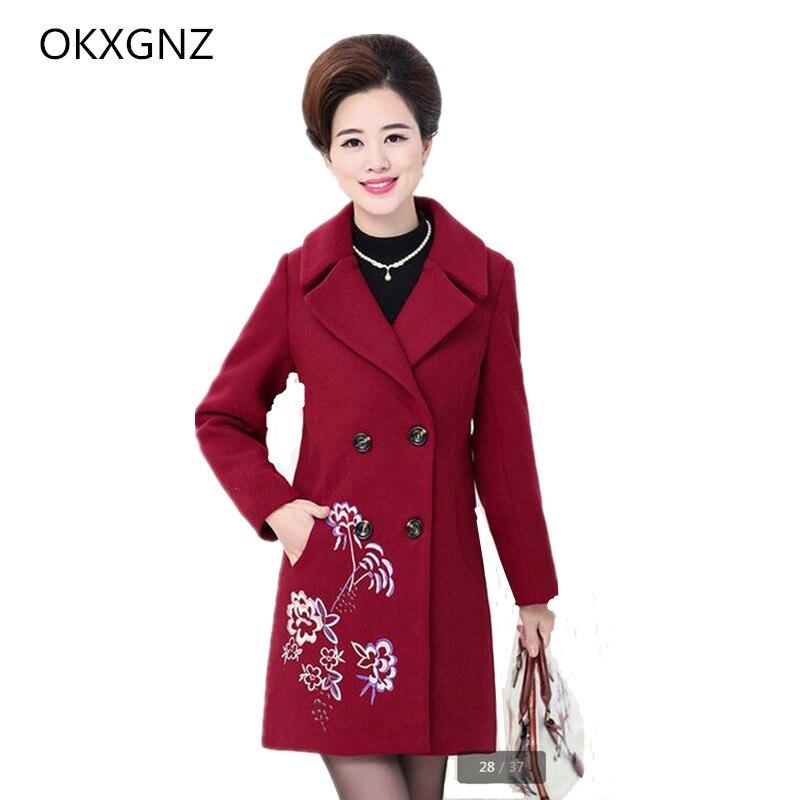 OKXGNZ Female Clothing 2017 New Spring Fashion Elderly Large size Windbreaker Wool Coat Medium Long female