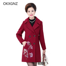 OKXGNZ Female Clothing 2017 New Spring Fashion Elderly Large size Windbreaker Wool Coat Medium Long female Jacket Coat Clothes