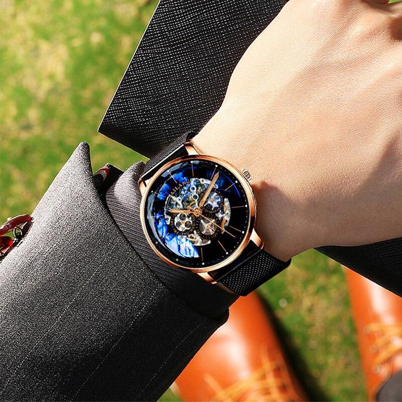 2018 neue reloj AILANG luxus männer mechanische automatische uhr Schweizer getriebe armbanduhr modische freizeit diesel uhr leder-in Mechanische Uhren aus Uhren bei  Gruppe 2
