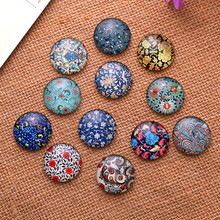 20Pcs Mixed Round Glass Multicolor Patterns Cabochons Dome Seals Cameo Crafts Making 35mm