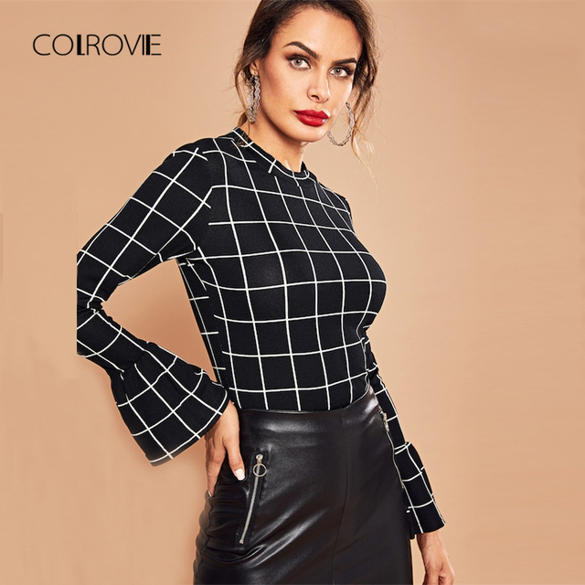 COLROVIE Black Bell Sleeve Grid Plaid Ruffle Elegant Blouse Shirt 2018  Winter Korean Fashion Office Womens Tops And Blouses f8b22af76adc