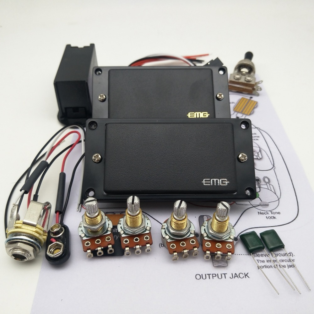 small resolution of emg 81 85 active pickups with 25k complete set of line electric guitar parts