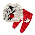 Primavera/Outono Esportes Dos Miúdos Terno Do Bebê Menino Roupas Conjunto Agasalho Mickey Manga Longa T-Shirt + Calças conjuntos
