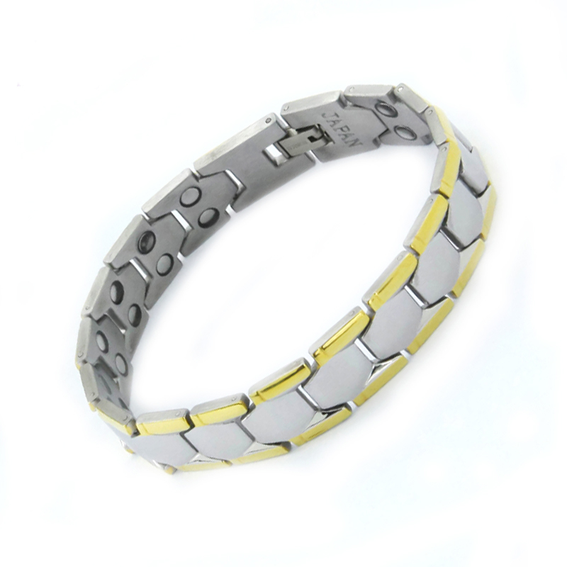 Top sale ! 2017 Men 316L Stainless steel plated Magnetic Bracelet Bio Health Healing Classic Link Chain Bangle free shipping
