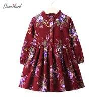 2017 אופנה חדשה רטרו מותג בגדי ילדים עבור בחורה חמודה בגדי מסיבת ילד שמלת נסיכת שמלה פרחונית הדפסת כותנה צווארון