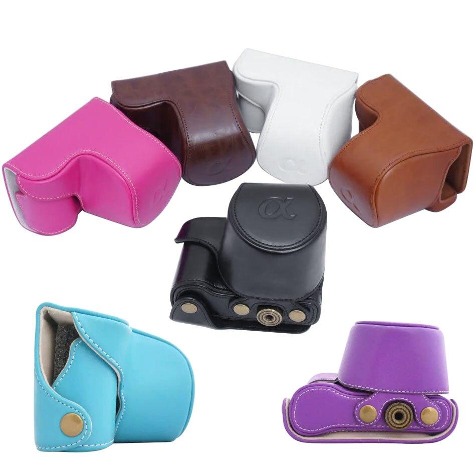 Bolsa de la Cámara de la PU ligero cubierta bolsa con 1/4 tornillo para Sony ILCE-5000 A5000 ILCE-5100 A5100 cámara Digital