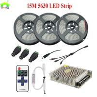 15M 5630 Waterproof LED Strip Flexible Tape Light Cool White Warm White Mini Dimmer RF Remote AC/DC Power Supply 12V 10A 120W