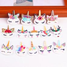 10PCS Horn Horse Charm Rainbow Resin Unicorn Head Charms DIY Accessories For Hairpin Mobile Phone Shell Decoration