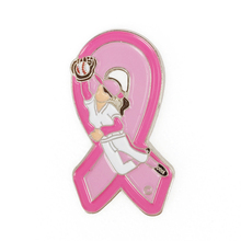 Breast Cancer Awareness Girl Softball Pink Ribbon Lapel Pins